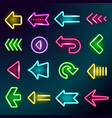 neon arrows glow lighting direction hotel arrow vector image vector image