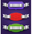 Ornate color frames with silver ribbons vector image vector image