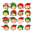 People in christmas hats vector image vector image
