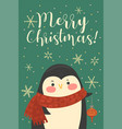 postcard with cute christmas penguin vector image