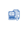 programmingcodingnotebook line icon concept vector image vector image