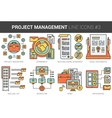 Project management line icon set vector image vector image