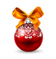 red orb and ribbon vector image