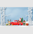 red truck with santa claus reindeer and elf vector image vector image