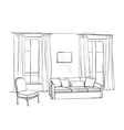 Room interior sketch Window and furniture vector image vector image