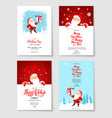 santa party card set vector image vector image