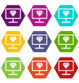 screen with diamond icon set color hexahedron vector image vector image