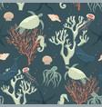 seamless pattern abstract sea life vector image vector image