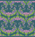 seamless pattern with flowers on blue backdrop vector image vector image