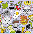 seamless pattern with hipster cats and autumn vector image vector image