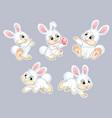 set cute cartoon rabbits vector image vector image