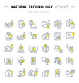 set line icons natural technology vector image