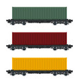 set of cargo railway containers vector image vector image