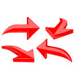 set of red 3d shiny arrows vector image vector image