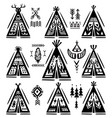 set of tee-pee or wigwams with ornamental elements vector image vector image
