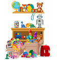 shelf and boxes full toys on white background vector image vector image