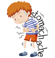Sick boy having stomachache vector image