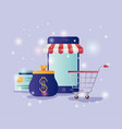 smartphone with parasol ecommerce icons vector image