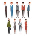 stressed business people set unhappy office vector image vector image