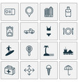 travel icons set with tanker medicine seaside vector image vector image
