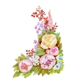 Watercolor floral pattern with pink flowers on vector image