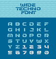 Wide techno poster font Geometric angular letters