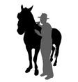 young person standing with horse vector image vector image