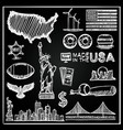 chalkboard collection of icons the united states vector image