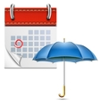 Loose-leaf Calendar With Open Umbrella vector image