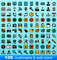 100 multimedia and web icons vector image vector image