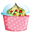 A cupcake inside a dotted pink container vector image vector image