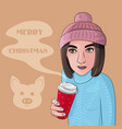 a girl in hat with coffee vector image