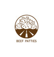 abstract beef patties urban restaurant design vector image