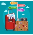 Airplane flying above tourists luggage vector image vector image