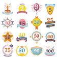 anniversary badges set birthday numbers vector image vector image