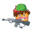 army sponge cake character cartoon vector image vector image