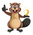 beaver with lighting bulb on white background vector image vector image