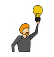 business man holding bulb vector image
