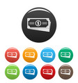 business money icons set color vector image