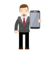 businessman showing a blank smart phone screen vector image