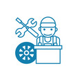 car mechanic linear icon concept car mechanic vector image vector image
