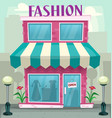 cartoon fashion shop building purple woman hobby vector image vector image