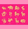 chinese new year zodiac signs papercut icons and vector image