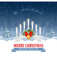 christmas greeting with candle lights bridge vector image vector image