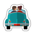 couple driver car lovely vector image