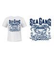 crab t-shirt print mockup surfing club waves vector image