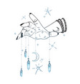 female hand with gem pendants and moon hand drawn vector image vector image