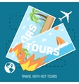 flat travel with hot tours tickets design concept vector image vector image