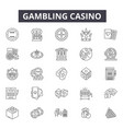 gambling casino line icons for web and mobile vector image