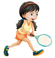 girl playing tennis white background vector image vector image
